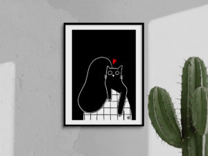 Affiche A4 - Câlin chat home